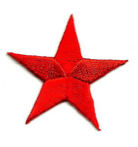 "( ONE DOZEN - 12 ) 1 1/4""(3.2cm)RED EMBROIDERED STARS IRON ON PATCH"