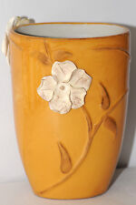"Fahrenhet Ca Flowers Holder Mustard Yellow Vase 7 1/4"" Container EC Handmade"