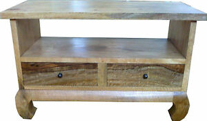 TV Stand Solid Wood Light Mango from CV Apollo UK