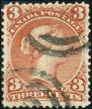 Canada #25 used F 1868 Queen Victoria 3c red Large Queen 2-ring cancel CV$20.00