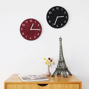 """Suede 8.7"""" Round Wall Clock Silent Non-Ticking Quartz Modern 6oz Lightweight"""