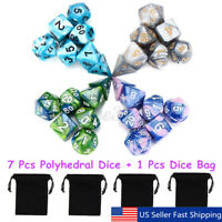 7Pcs Set Acrylic Polyhedral Dice with Bag DND RPG MTG Role Playing Boar B1 S1