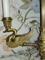 John Richard Brass Empire Swan 3 Arm Chandelier