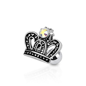 """16g 1/4"""" 10 MM Clear CZ Crown Tragus Cartilage Ear Surgical Steel Barbell"""