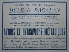 1926-1927 PUB DYLE BACALAN BORDEAUX LOUVAIN AVION HYDRAVION ORIGINAL FRENCH AD
