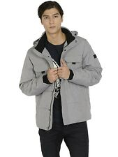 Mens Jack & Jones Winter Quilted Puffer Jacket Warm Hooded Outdoor Grey Colour