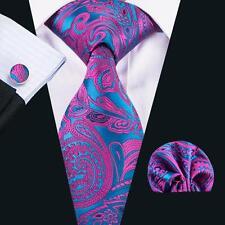 USA Paisley Purple Classic Hi Tie Mens Tie Silk Necktie Hanky Cufflinks SN-1622