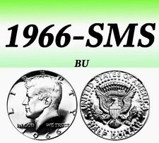 1966-SMS KENNEDY BRIGHT CLEAR UNCIRCULATED SILVER HALF DOLLAR===BU===SILVER===
