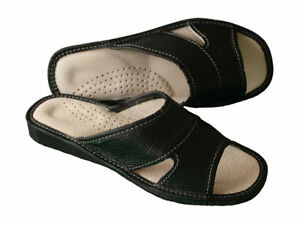 Women's Slippers Black 100% Leather Sliders Mules House Shoes Slip On Size 3 - 8