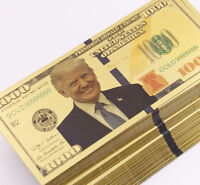 50 Pcs Gold Plated US President Trump 1,000 dollar Banknotes Crafts Collection