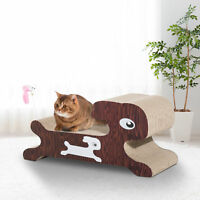 Corrugated Cardboard Cat Scratcher Rabbit Style Lounge Kitty Bed w/ Toy Ball