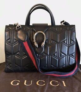 Gucci Large Black Leather Handbag Marmont Matelasse Dionysus Web 2 Way Tote Rare