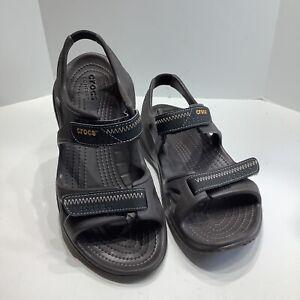 Crocs Size 7M SWIFTWATER RIVER Brown Black Sport Sandals New Men's Shoes