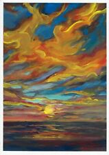 original painting A3 126MA art Gouache Impressionism landscape sunset Signed