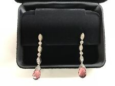 Tiffany & Co.Swing Drop Pink Tourmaline Diamond Platinum Earrings -RARE STUNNING
