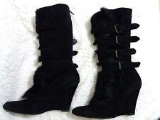 HELMUT LANG Women Boots Black Suede & Real Fur Wedge Mid Calf EU 39.5/US 9/UK 7
