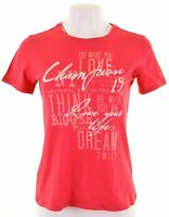 CHAMPION Womens Graphic T-Shirt Top Size 14 Large Pink Cotton  R124