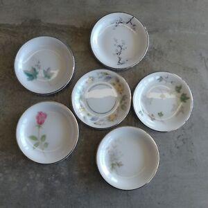 6 Vintage Noritake Butter Pads 1960s Assorted Designs Japan Porcelain Pin Dishes
