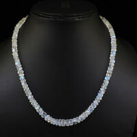 Natural Rainbow Moonstone Necklace Top Quality Facetted Beads 925 Silver Clasp
