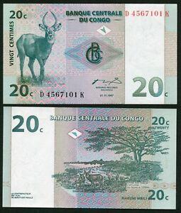 Congo DR 20 centimes 1997.11.01. Waterbuck & Antilopes P83 UNC