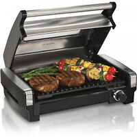 Hamilton Beach Electric Indoor Searing Grill with Removable Plates Less Smoke