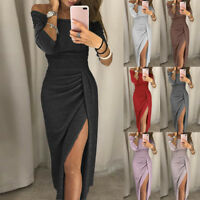 Women Ladies Off Shoulder High Slit Bodycon Dress Long Sleeve Dresses Fashion AU