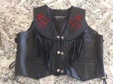 Womens UNIK Leather Biker Motorcycle Vest With Rose Design Size XL