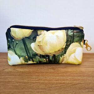 Glasses Case Pouch Faux Leather Vegan Handmade Flat Bag Ladies Sunglasses Floral