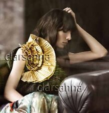 Dries Van Noten Flounce of Pleated Gold Lame Ruffles Rosette Quilted Back Top 40