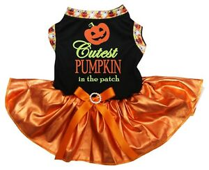 Cutest Pumpkin In The Patch Black Cotton Top Orange Tutu Pet Dog Puppy Dress