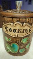 "Vintage Treasure Craft Cookie Jar Nice 8"" High 6.5 Diameter Free Shipping"