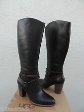 UGG TALL NEOMA BROWN LEATHER ANKLE WRAP HIGH HEEL BOOTS, US 8/ EUR 39 ~ NEW