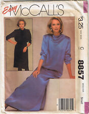Easy Slim Pullover Dress Cowl Neck Tie Belt Tapered Sleeves Sewing Pattern 10 12