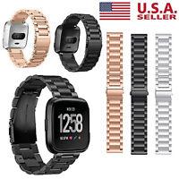 For Fitbit Versa Premium Stainless Steel Metal Bracelet Watch Band Strap