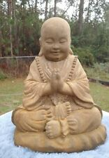 MEDITATING BUDDHA STATUE Vintage Patina Stained Golden Brown
