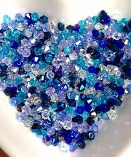 100 Austrian Crystal Glass Bicone Beads Jewellery Making/Crafts - Blue Mix -4mm