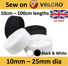 Velcro® SEW ON tape 10, 16, 20, 25mm, White & Black hook Loop textile fastening