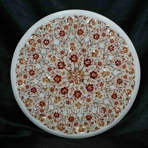 21 Inches Round Marble Coffee Table Top Beautiful Design with MOP Sofa table top