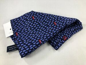"""NEW TOMMY HILFIGER Silk Pocket Square $34 NWT 13"""" Navy Blue Tree Red Truck 3302"""