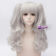 Silver White Curly Hair Lolita Daily Party Anime Cosplay Wig + Long Ponytails