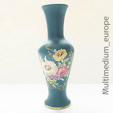 50er Waldershof Bavaria Porzellan Vase Blumen bemalt Emaille Malerei Gold Rand