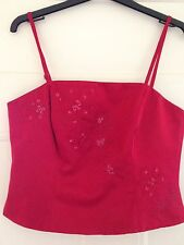 Gorgeous Debut Red bustier With Flower Detail top size 12. Detachable Straps.