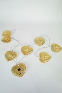 Fairy Lights Gold Metal Ornate Heart LED Light Garland Battery Operated String