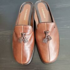 Enzo Angiolini Flat Shoes Slide On Mule Casual Loafer Brown Tassle Women's 7M