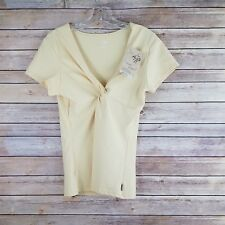 Prana Womens Size XL Twist Top Short Sleeve Fitness Color Banana Yellow NWT