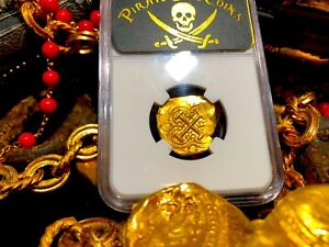 COLOMBIA 2 ESCUDOS 1694-13 NGC 64 PIRATE GOLD COINS SHIPWRECK TREASURE DOUBLOON