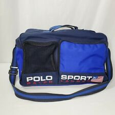 Vintage Ralph Lauren Polo Sport Bag Duffle Gym Weekender Spell Out Flag Blue