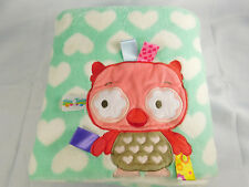 """Taggies Owl Baby Blanket Teal Green White Hearts 30"""" x 40"""""""
