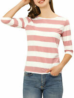 Allegra K Women's Elbow Sleeves Striped T-shirt Boat Neck Top Pink White S