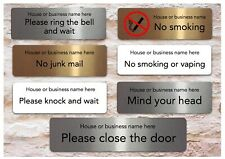 Business or House Name VITAL SIGN Metal DOOR PLAQUE Mail Knock Ring Smoking CCTV